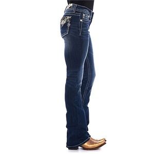 Miss Me Dark Wash Embroidered Easy Bootcut Sz 27